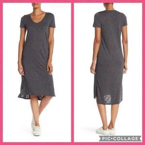 Madewell Scoop Neck Midi Dress Heathered Gray Sz L